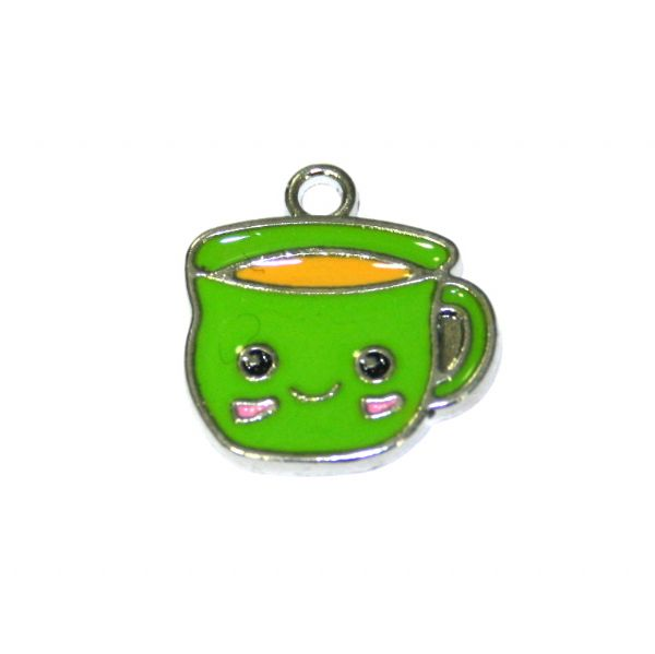 1pce 16*14mm Rhodium plated green cuppa / cup of tea enamel charm - S.D03 - CHE1164